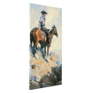 Vaquero del vintage, centinela de los llanos por impresión en lienzo