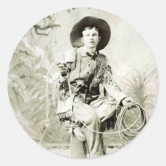 Vaquero del vintage circa 1900 pegatina redonda