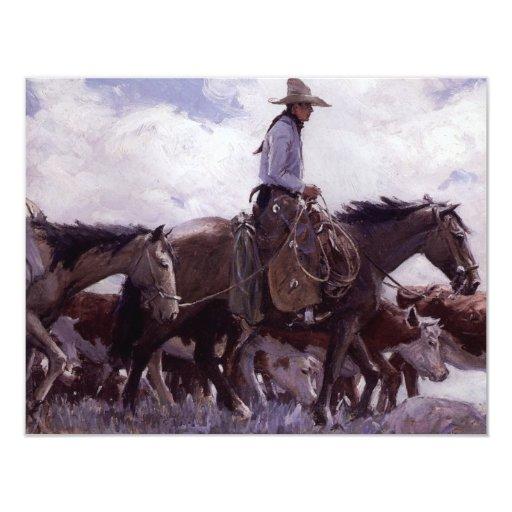 """Vaquero del vintage con su manada del ganado de invitación 4.25"""" x 5.5"""""""