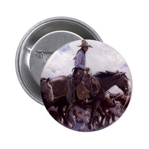 Vaquero del vintage con su manada del ganado de pin redondo de 2 pulgadas