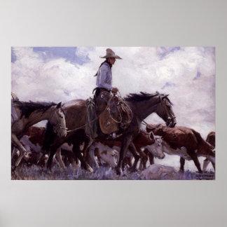 Vaquero del vintage con su manada del ganado de póster