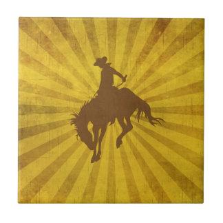 Vaquero del vintage de Brown amarillo Azulejo Cuadrado Pequeño