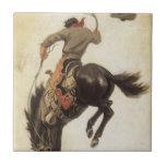 Vaquero del vintage en un caballo Bucking del caba Tejas Ceramicas