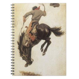 Vaquero del vintage en un caballo Bucking del caba Libros De Apuntes Con Espiral
