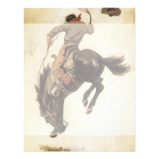 Vaquero del vintage en un caballo Bucking del caba Tarjeton