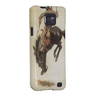 Vaquero del vintage en un caballo Bucking del caba Galaxy S2 Funda