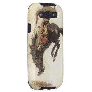 Vaquero del vintage en un caballo Bucking del caba Galaxy S3 Protectores