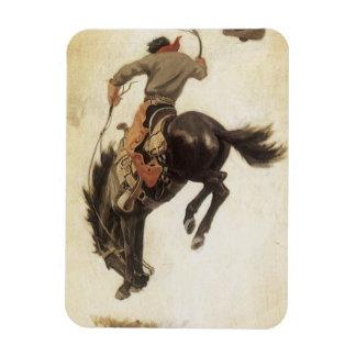 Vaquero del vintage en un caballo Bucking del caba Iman Rectangular