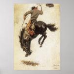 Vaquero del vintage en un caballo Bucking del caba Poster