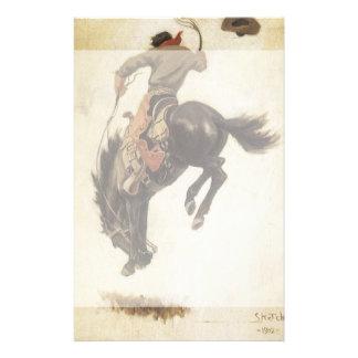Vaquero del vintage en un caballo Bucking del caba Papelería Personalizada