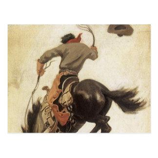 Vaquero del vintage en un caballo Bucking del caba Postal