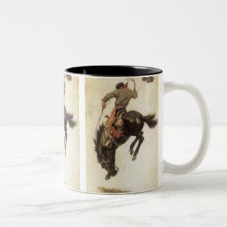 Vaquero del vintage en un caballo Bucking del caba Taza De Café