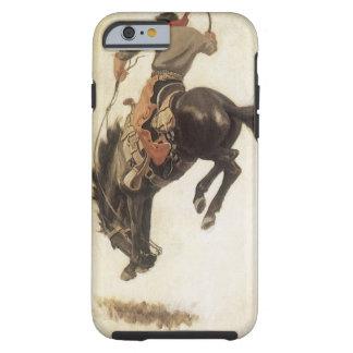 Vaquero del vintage en un caballo Bucking del Funda De iPhone 6 Tough