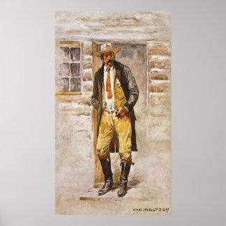 Vaquero del vintage, retrato del sheriff por el póster