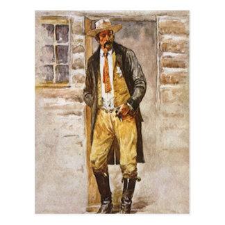 Vaquero del vintage retrato del sheriff por el postal