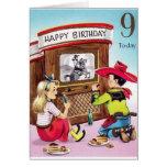 Vaquero del vintage tarjeta de cumpleaños de nueve