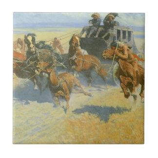 Vaquero del vintage, tragando cerca al líder, azulejo cuadrado pequeño