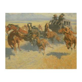 Vaquero del vintage, tragando cerca al líder, cuadros de madera