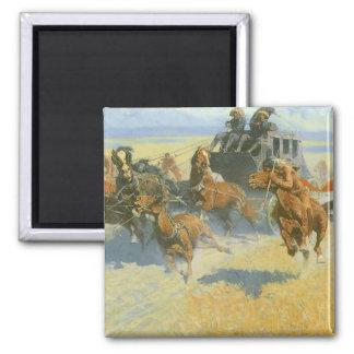 Vaquero del vintage, tragando cerca al líder, imán cuadrado