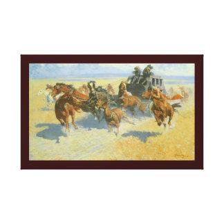 Vaquero del vintage, tragando cerca al líder, impresiones de lienzo