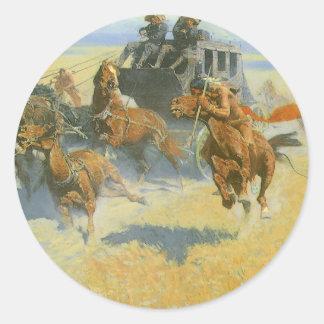 Vaquero del vintage, tragando cerca al líder, pegatina redonda