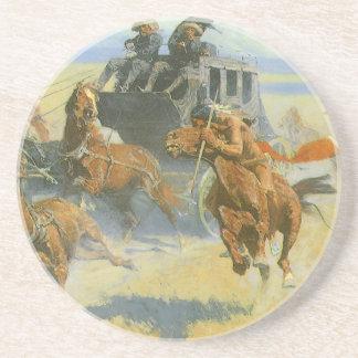 Vaquero del vintage, tragando cerca al líder, posavasos manualidades