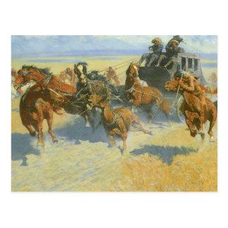 Vaquero del vintage, tragando cerca al líder, postales
