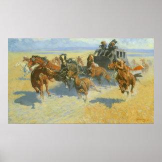 Vaquero del vintage, tragando cerca al líder, póster