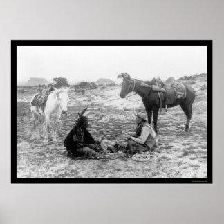 Vaquero e indio 1915 de los naipes impresiones