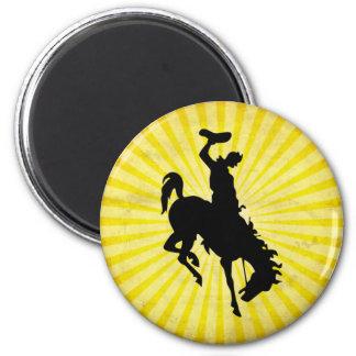Vaquero en Bronc Bucking; amarillo Imán Redondo 5 Cm