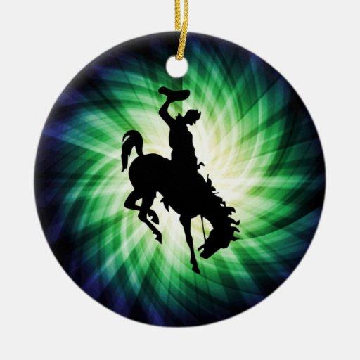 Vaquero en caballo salvaje/Bronc; Fresco Ornamentos De Reyes Magos