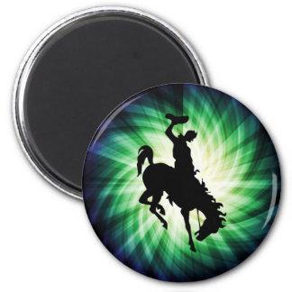 Vaquero en caballo salvaje/Bronc; Fresco Imán Redondo 5 Cm