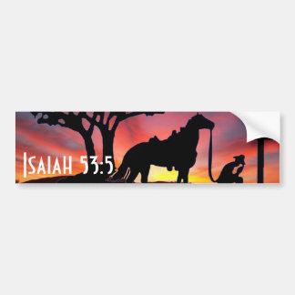 Vaquero en el palillo de parachoques cristiano occ pegatina de parachoque