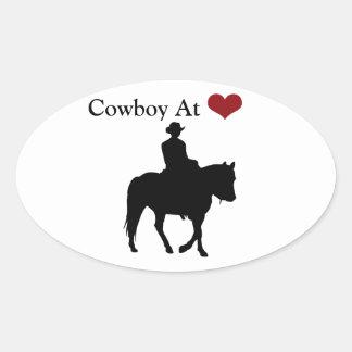 Vaquero en el pegatina oval personalizado corazón