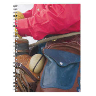 Vaquero en grietas del cuero del caballo que lleva libreta
