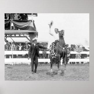 Vaquero en la demostración del caballo, 1925 impresiones