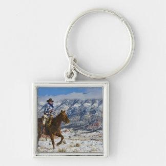 Vaquero en las grietas 2 del cuero del caballo que llaveros personalizados