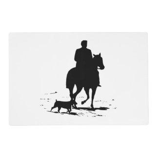 Vaquero en su caballo con su perro Placemats Tapete Individual