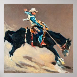 Vaquero en un caballo salvaje Bucking en el rodeo Póster