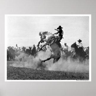 Vaquero en un caballo salvaje bucking impresiones