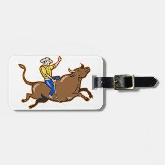 Vaquero etiquetas de un equipaje de Bull que monta Etiquetas Maletas
