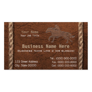 Vaquero/falsos cuero y cuerda equipados tarjetas de visita
