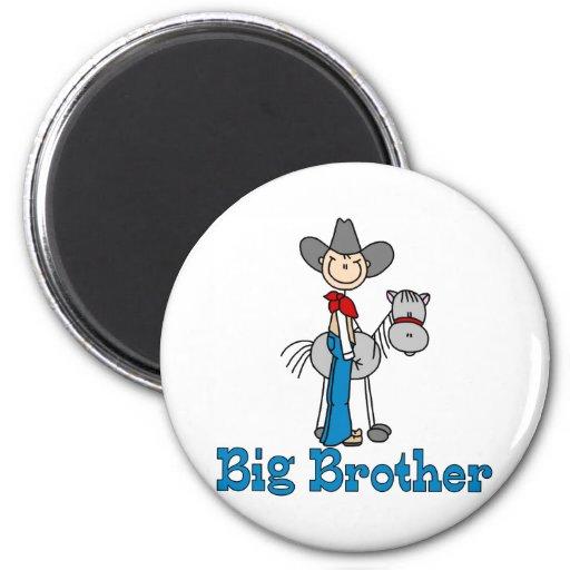 Vaquero hermano mayor del palillo imán de frigorífico