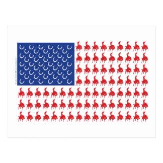 Vaquero-Jinete-Bandera-Camiseta Tarjetas Postales