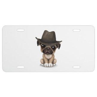 Vaquero lindo adaptable del perrito del barro placa de matrícula