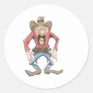 Vaquero listo para dibujar pegatina redonda