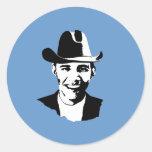 Vaquero Obama Pegatina Redonda