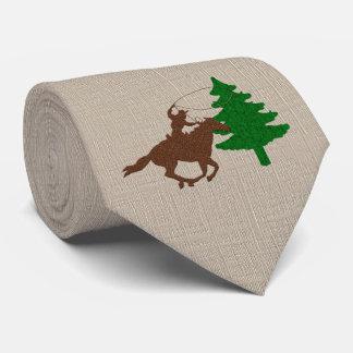 Vaquero occidental Roping un árbol de navidad Corbata Personalizada
