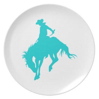 Vaquero oscuro de la turquesa plato para fiesta