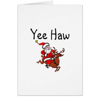 Vaquero Papá Noel del navidad del Haw de Yee Felicitacion